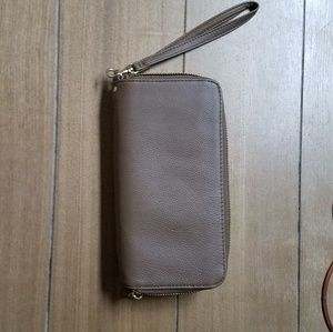 Faux leather clutch with wrist strap